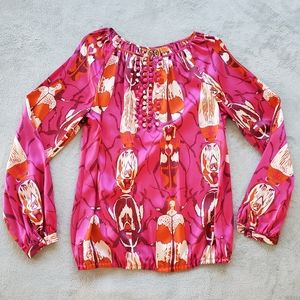 EUC Tory Burch silk beetles print blouse